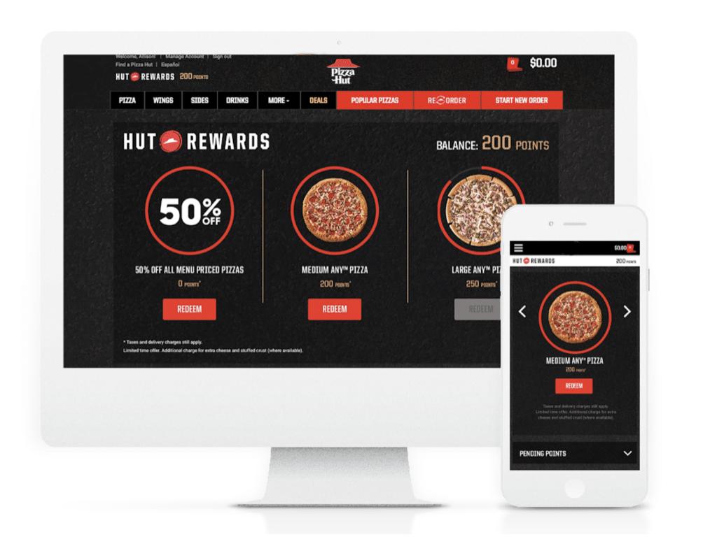 Pizza Hut Rewards on screen