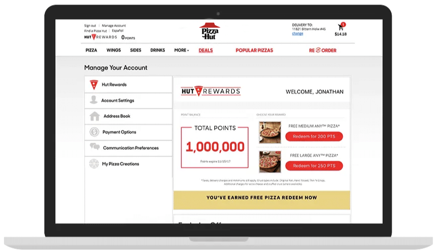 Pizza Hut Ordering On Screen